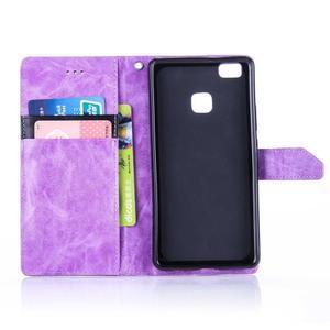 Duocolory PU kožené pouzdro na Huawei P9 Lite - fialové/černé - 4