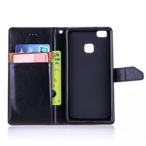 Duocolory PU kožené pouzdro na Huawei P9 Lite - černé/hnědé - 4