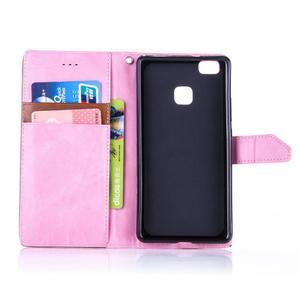 Duocolory PU kožené pouzdro na Huawei P9 Lite - růžové/hnědé - 4