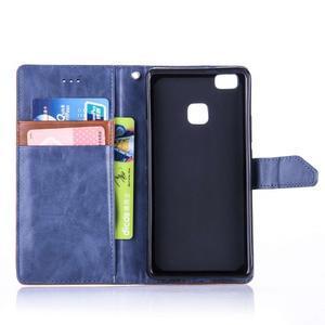 Duocolory PU kožené puzdro na Huawei P9 Lite - modré/hnedé - 4