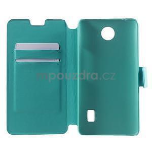 Tyrkysové kožené puzdro na Huawei Y635 - 4