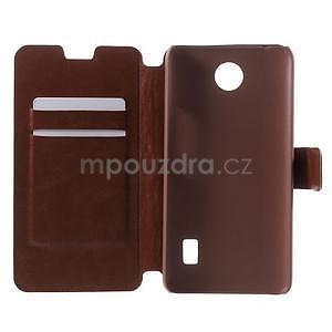 hnedé kožené puzdro na Huawei Y635 - 4