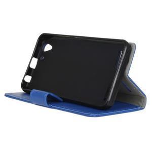 Knížkové PU kožené puzdro pre Lenovo Vibe K5 / K5 Plus - modré - 4