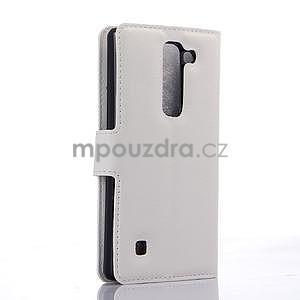 Kožené zapínací puzdro na LG Spirit - biele - 4