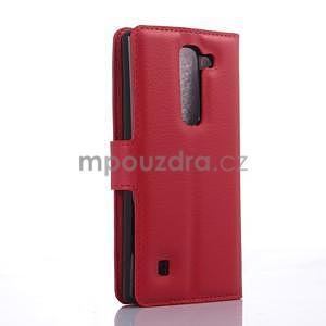 Kožené zapínacie puzdro pre LG Spirit - červené - 4