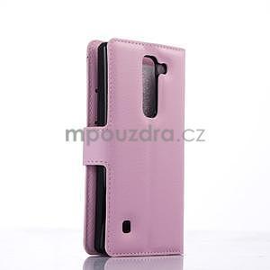 Kožené zapínací puzdro na LG Spirit - růžové - 4