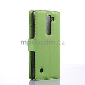 Kožené zapínacie puzdro pre LG Spirit - zelené - 4
