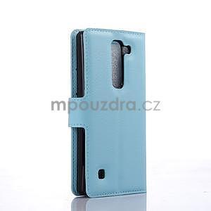 Kožené zapínací puzdro na LG Spirit - světle modré - 4