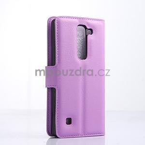 Kožené zapínací puzdro na LG Spirit - fialové - 4
