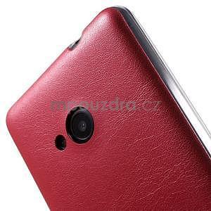 Ultra tenký kožený kryt pre Microsoft Lumia 535 - červený - 4