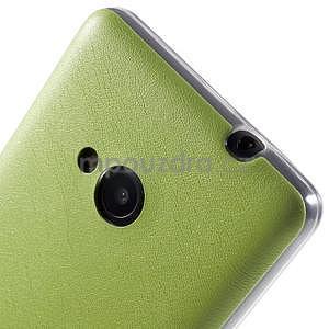 Ultra tenký kožený kryt na Microsoft Lumia 535 - zelený - 4
