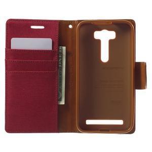Canvas textilní/PU kožené puzdro na Asus Zenfone 2 Laser - červené - 4