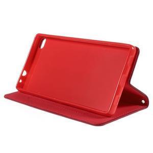 Style peňaženkové puzdro na Huawei Ascend P8 - červené - 4