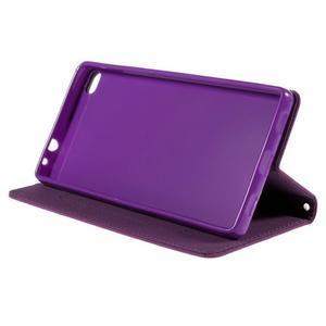 Style peňaženkové puzdro na Huawei Ascend P8 - fialové - 4