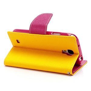 Fancy peňaženkové puzdro pre Samsung Galaxy S4 - žlté - 4