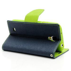 Fancy peňaženkové puzdro na Samsung Galaxy S4 - tmavo modré - 4