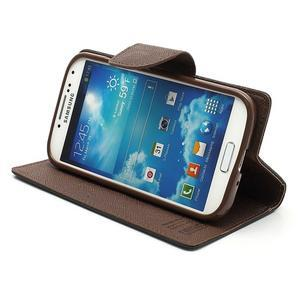 Fancy peňaženkové puzdro pre Samsung Galaxy S4 - čierné/hnedé - 4