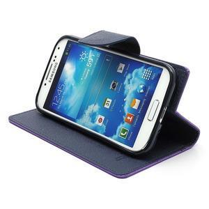 Fancy peňaženkové puzdro pre Samsung Galaxy S4 -  fialové - 4