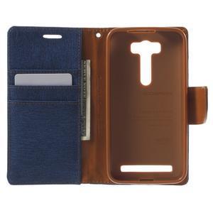 Canvas textilní/PU kožené puzdro na Asus Zenfone 2 Laser - modré - 4