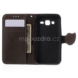 Černé/hnedé peňaženkové puzdro pre Samsung Galaxy Core Prime - 4