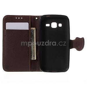 Rose/hnedé peňaženkové puzdro pre Samsung Galaxy Core Prime - 4