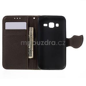 Zelené/hnedé peňaženkové puzdro pre Samsung Galaxy Core Prime - 4