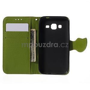Hnedé/zelené peňaženkové puzdro pre Samsung Galaxy Core Prime - 4