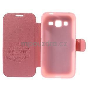 Zapínací peněženkové pouzdro na Samsung Galaxy Core Prime - růžové - 4