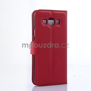 Kožené peňaženkové puzdro na Samsung Galaxy E5 - červené - 4