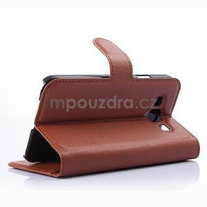 Kožené peňaženkové puzdro na Samsung Galaxy E5 - hnedé - 4