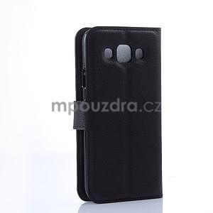Kožené peňaženkové puzdro na Samsung Galaxy E5 - čierné - 4