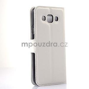 Kožené peňaženkové puzdro pre Samsung Galaxy E5 - biele - 4