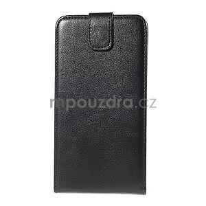 Čierné flipové kožené puzdro pre Samsung Galaxy E7 - 4