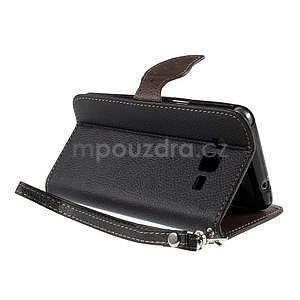 Čierné/hnedé zapínací peňaženkové puzdro na Samsung Galaxy Grand Prime - 4