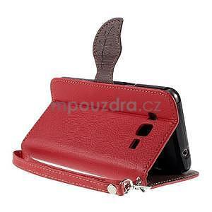 Červené/hnedé zapínací peňaženkové puzdro na Samsung Galaxy Grand Prime - 4