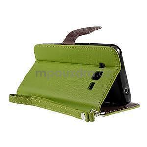 Zelené/hnedé zapínací peňaženkové puzdro na Samsung Galaxy Grand Prime - 4