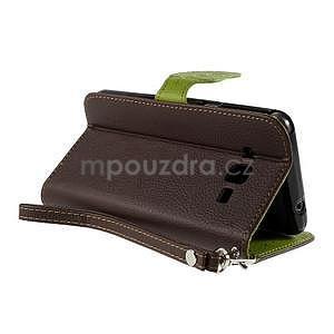 Hnedé/zelené zapínací peňaženkové puzdro pre Samsung Galaxy Grand Prime - 4