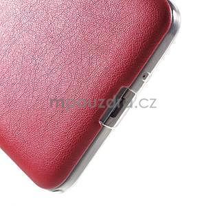 Ultratenký kožený kryt pre Samsung Grand Prime - červený - 4