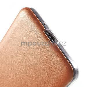 Ultratenký kožený kryt pre Samsung Grand Prime - oranžový - 4