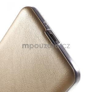 Ultratenký kožený kryt na Samsung Grand Prime - zlatý - 4