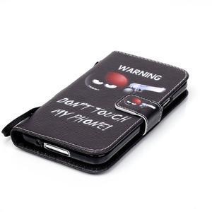 Knížkové PU kožené puzdro pre Samsung Galaxy S5 - varujem ťa - 4