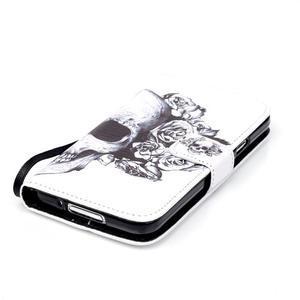 Knížkové PU kožené puzdro pre Samsung Galaxy S5 - lebka - 4