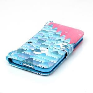 Knížkové PU kožené puzdro pre Samsung Galaxy S5 - snežný muž - 4