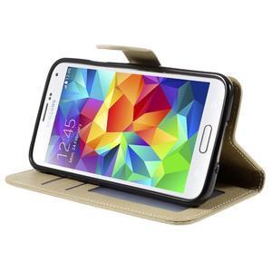 Clothy Pu kožené puzdro pre Samsung Galaxy S5 - champagne - 4