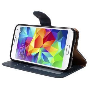 Clothy Pu kožené pouzdro na Samsung Galaxy S5 - tmavěmodré - 4