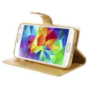 Bluemoon PU kožené pouzdro na Samsung Galaxy S5 - zlaté - 4