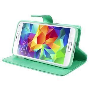 Bluemoon PU kožené puzdro pre Samsung Galaxy S5 - azúrové - 4