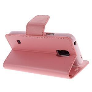 Sonata PU kožené pouzdro na Samsung Galaxy S5 mini - růžové - 4