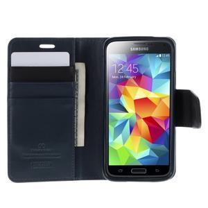 Sonata PU kožené pouzdro na Samsung Galaxy S5 mini - tmavěmodré - 4