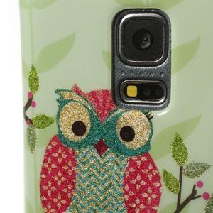 Owls gélový obal pre Samsung Galaxy S5 mini - sovy na vetve - 4